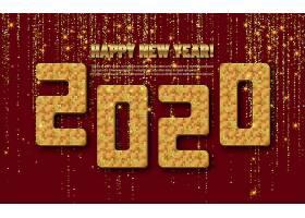 2020立体数字与红色背景素材