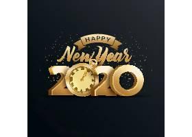 创意金色时钟2020鼠年素材