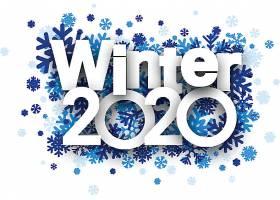 创意蓝色雪花背景2020素材