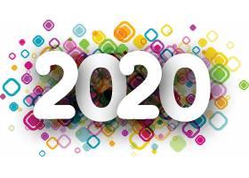 彩色方形图案背景2020素材