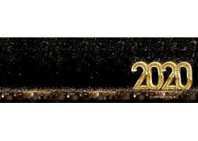 星光背景与金色2020素材