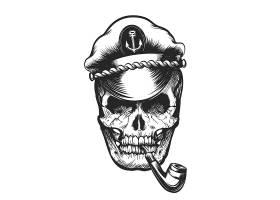 吸烟斗的骷髅