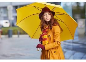986788,女人,模特,妇女,女孩,雨伞,微笑,红发的人,围巾,深度,关于图片