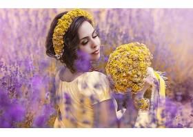 777970,女人,模特,妇女,女孩,情绪,酒香,黄色,花,黑发女人,花冠,