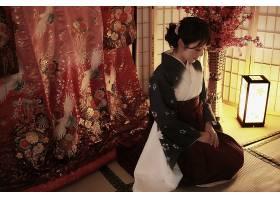 850649,女人,亚洲的,女孩,和服,鸟,酒香,灯,壁纸