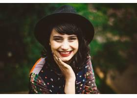 759375,女人,模特,妇女,女孩,微笑,口红,帽子,黑发女人,棕色,眼睛