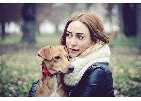 1034815,女人,模特,女孩,狗,妇女,深度,关于,领域,棕色,眼睛,黑发