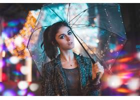 1019525,女人,模特,女孩,雨伞,夜晚,灯光,Bokeh,妇女,黑色,头发,图片