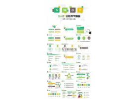 淡雅黄绿色图案swot分析ppt模板
