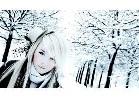596351,女人,模特,妇女,帽子,冬天的,雪,白色,头发,壁纸
