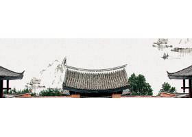 中式建筑水墨大山中国风横幅背景
