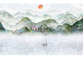中国风江南山水花鸟背景墙