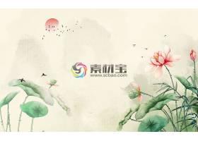 中国风彩墨风山花鸟背景墙