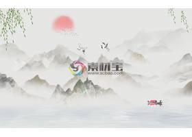 中国风花鸟山水背景墙