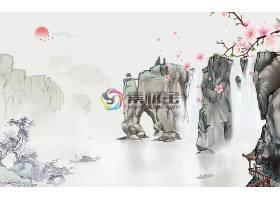 中国风山水背景墙