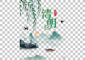 清明节水墨海报