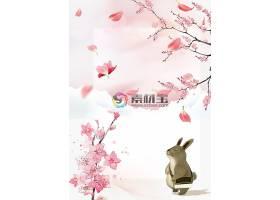 春天兔子花卉背景素材图片