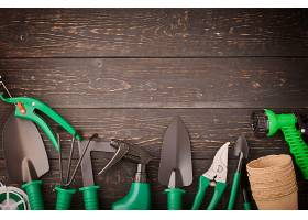 黑色背景与绿色整套园林五金工具