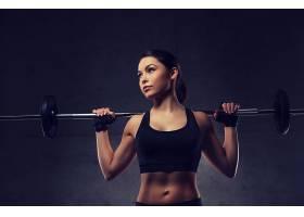 健身美女与杠铃