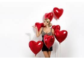 红色气球与性感女人