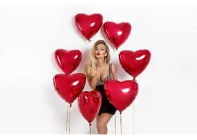 性感女人与红色气球