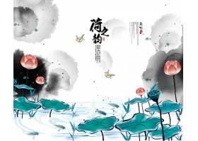 中国风荷花水墨背景
