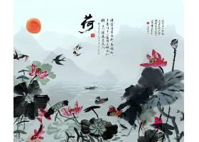 中国风荷花月色水墨背景