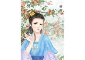 中国风寒露手绘美女