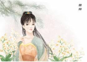 中国风霜降手绘美女
