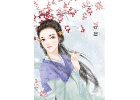 中国风立冬节气手绘美女