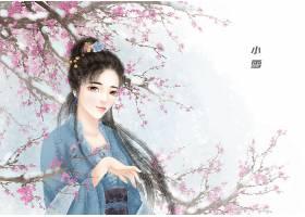中国风小雪节气手绘美女