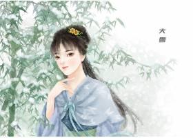 中国风大雪节气手绘美女