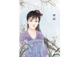 中国风冬至节气手绘美女