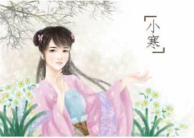 中国风手绘美女小寒节气背景