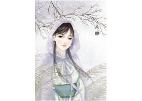 中国风手绘美女大寒节气背景