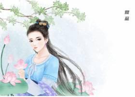 中国风夏至节气手绘美女