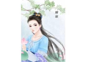 中国风手绘美女夏至节气背景