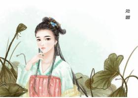 中国风处暑节气手绘美女