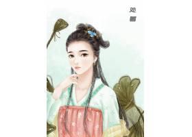 中国风手绘美女处暑节气背景