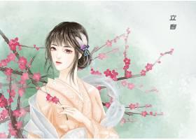 中国风立春节气手绘美女