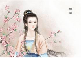 中国风惊蛰节气手绘美女