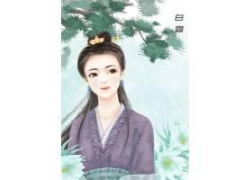 中国白露节气手绘美女