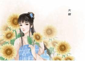 大暑节气中国风手绘美女背景