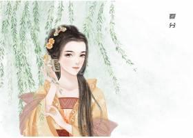 春分节气中国风手绘美女背景
