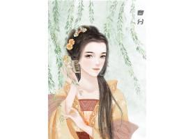 中国风春分节气手绘美女