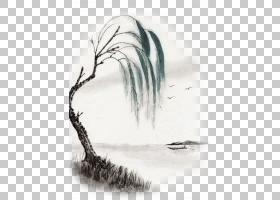 彩墨画柳树PNG免抠素材