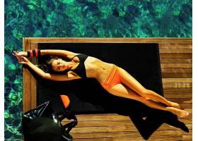 人,伊琳娜・沙伊克,躺着,比基尼泳装,美女,模特,闭着眼睛66464