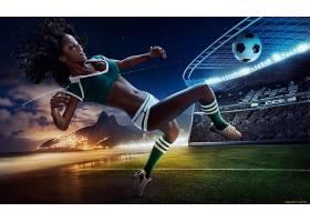 人,制服,美女,数字艺术,足球,球,模特3630