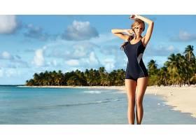 人,单件泳衣,美女,金发,海滩,模特,游泳衣,户外的女人,Ewelina Ol
