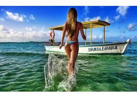 人,美女,船,水,户外的女人,巴西,屁股,比基尼泳装,模特72018